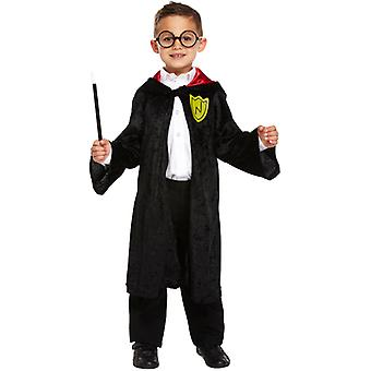 Children's Halloween Wizard Black Velvet Cloak Fancy Dress Accessory