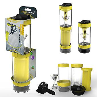Intelishake Bumblebee Yellow - Shaker Bottle Multi-Compartment Protein/Workout/Juice with Water Carbon Filter for Sports Exercise & Gym