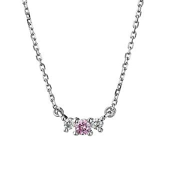 Forever Classic Round Three Stone Pink Center Necklace