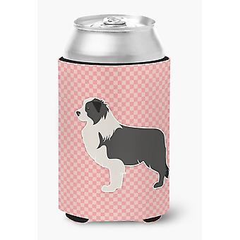 Black Border Collie Checkerboard Pink Can or Bottle Hugger
