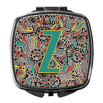 Letter Z Retro Tribal Alphabet Initial Compact Mirror