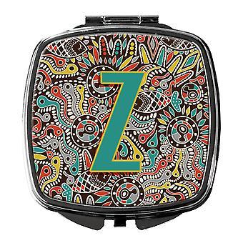 Lettre Z rétro Alphabet Tribal Initial miroir Compact