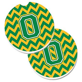 Letter O Chevron Green and Gold Set of 2 Cup Holder Car Coasters