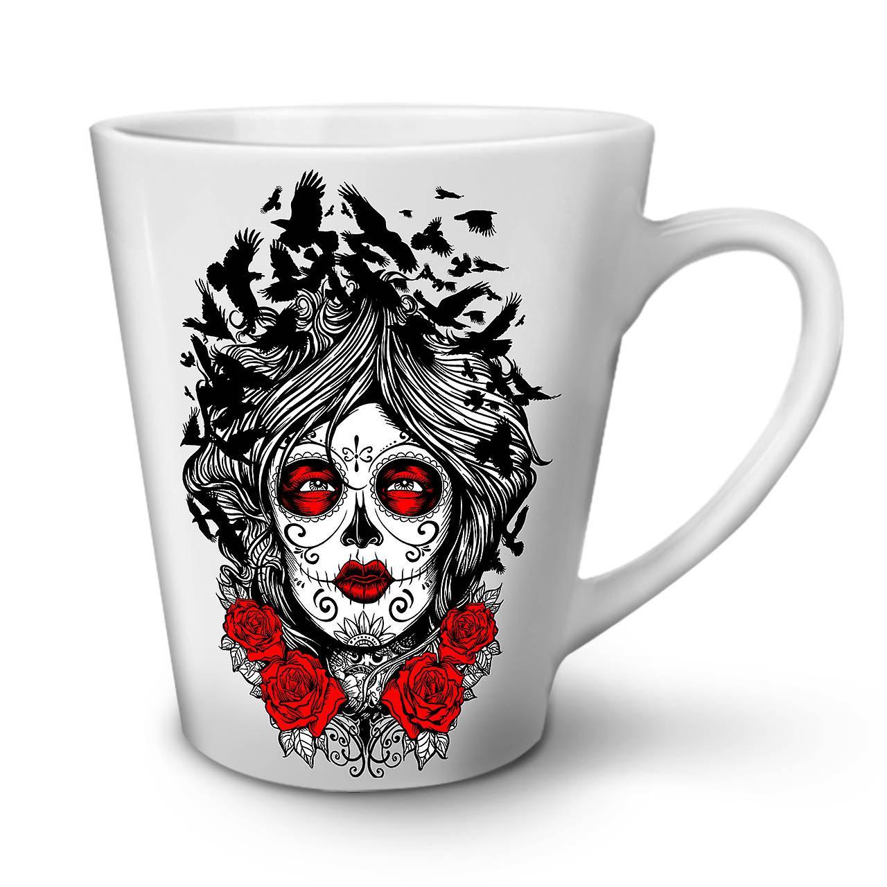 OzWellcoda Céramique Rose Horreur En Mug 12 Blanc Thé Latte Nouveau Café Art Visage Fille EDYH9W2I