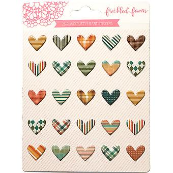 Freckled Fawn Puffy Heart Stickers 25/Pkg-Autumn Plaid OCTPS