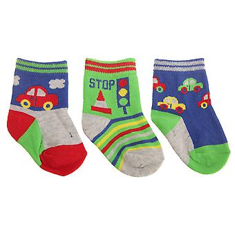Baby Boys Vehicle Patterned Socks (Pack Of 3)