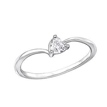 Heart - 925 Sterling Silver Jewelled Rings - W29236X