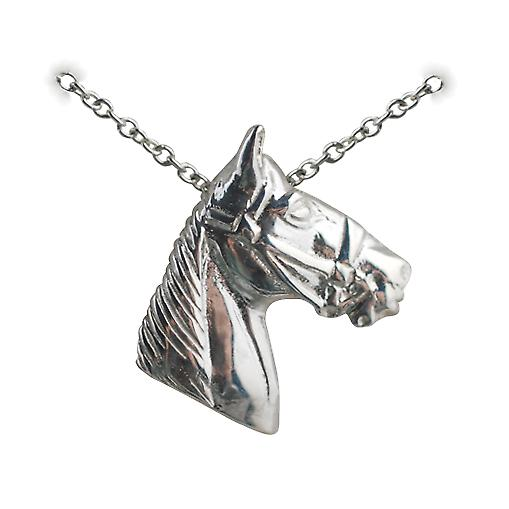Silver 15x15mm Horse Head Pendant with a rolo Chain 16 inches Only Suitable for Children
