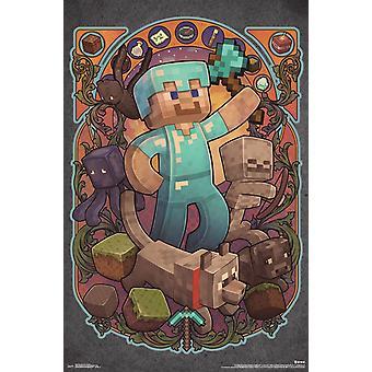 Minecraft - Стив Nouveau Плакат Печать