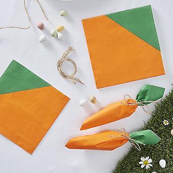 Carotte de Pâques en forme de papier serviettes Pierre lapin chasse aux œufs de fête-16 serviettes de table