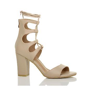 Ajvani dame høj blok hæl ghillie bur slips snøre skåret ud peep toe sko sandaler