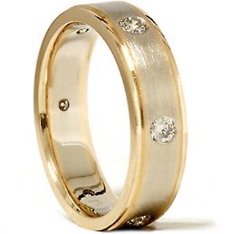 Mens 3/4ct 14K Gold Diamond Comfort Fit Wedding Ring