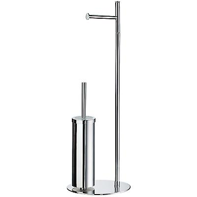 Outline Freestanding Toilet Roll Holder And Brush Set - Polished Chrome FK308