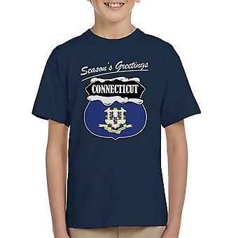Seasons Greetings Connecticut State Flag Christmas Kid's T-Shirt