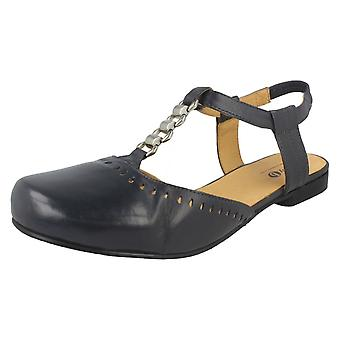 Ladies Easy B Cut Out Slingbacks Brittany 78463N - Navy Leather - UK Size 6 4E - EU Size 38.5 - US Size 8