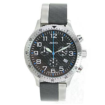 Aristo mens watch chronograph carbon steel trophy clip 7H106B