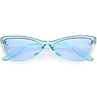 Translucent Retro Cat Eye Sunglasses Slim Arms Color Tinted Lens 57mm
