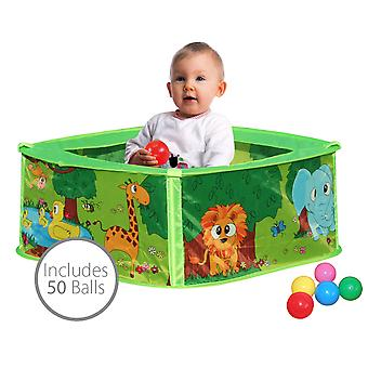 Charles Bentley Baby Safari Pop Up Play Pen Ball Pit Pool Including 50 Balls
