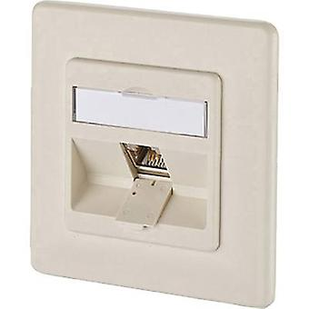 Network outlet Flush mount Insert with main panel and frame CAT 6A 1 port Metz Connect 1309111001-E Pearl white