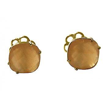 Gemshine - cufflinks - 925 Silver - gold plated - Rose Quartz - pink