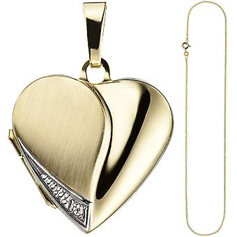 Locket heart pendant to open for photos 333 Gold 1 cubic zirconia necklace 45 cm