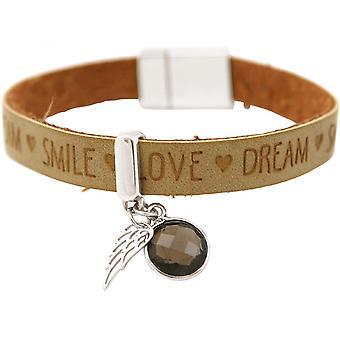 -Armband - Angel - Wings - 925 zilver - wensen - bruin-zand - smoky quartz - magnetische sluiting