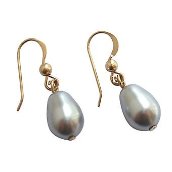 Shell Pearl Earrings MK pearls earrings grey silver plated drop