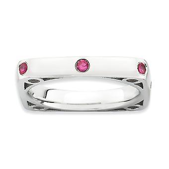 3,25 mm Sterling Silber Lünette rhodinierten stapelbar Ausdrücke poliert erstellt Ruby Square Ring - Ring-Größe: 5 bis 10