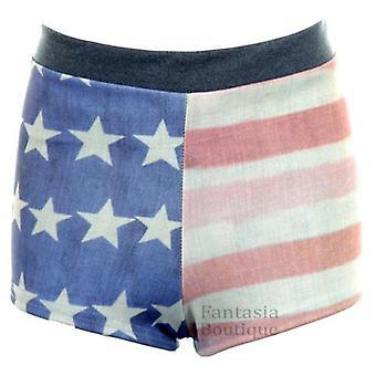 Damen Denim Effekt verblasst USA Flagge Drucken Hot Pants Damen Stretch Shorts
