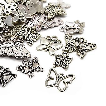30 gram antik Silver tibetanska 5-40mm fjäril Charm/hänge Mix HA06700