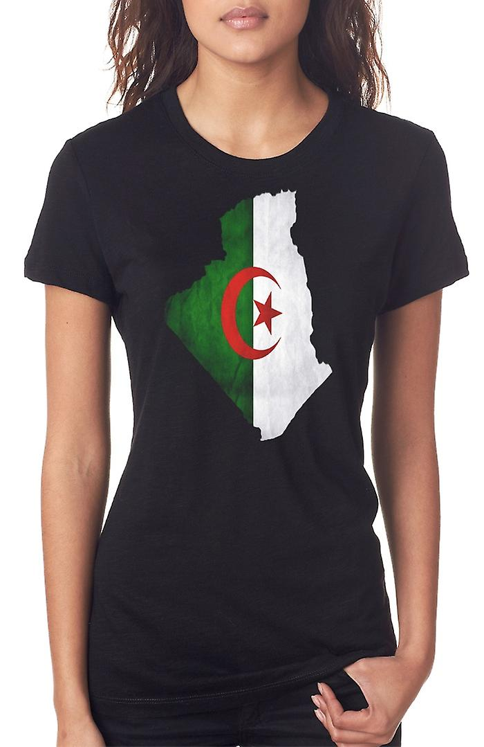 Algerian Algeria Flag Map Ladies T Shirt
