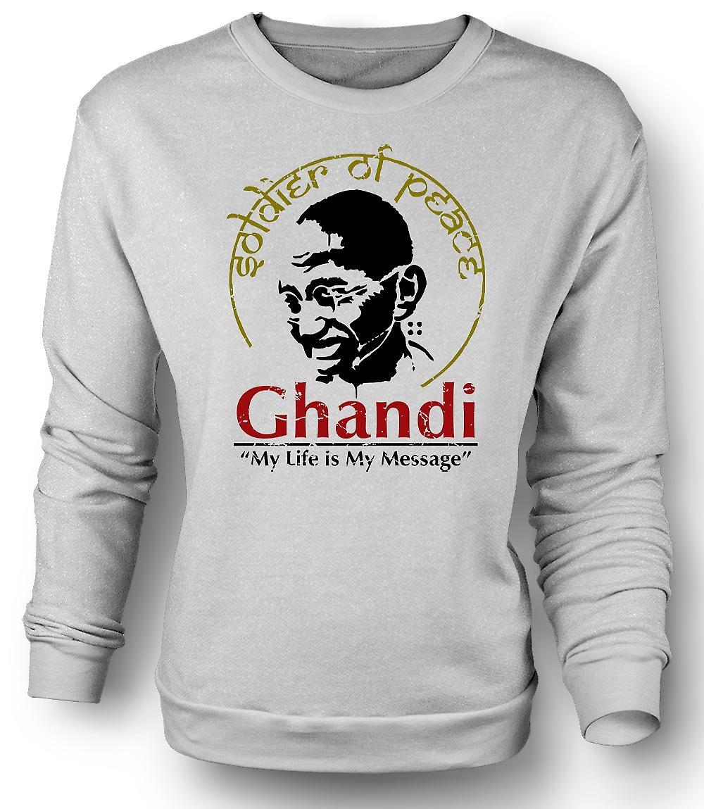 Mens Sweatshirt Ghandi mitt liv är min meddelande - Indien - frihet