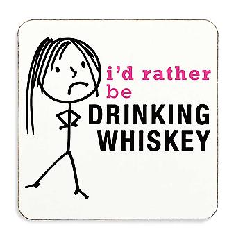 Ladies Rather Be Drinking Whiskey Coaster Cork Back