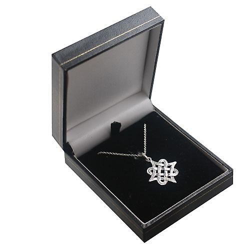 Silver 23x23mm Islamic Motif Pendant with a rolo Chain 14 inches Only Suitable for Children
