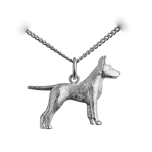 Silver 19x25mm Staffordshire Bull terrier Pendant with a curb Chain 20 inches