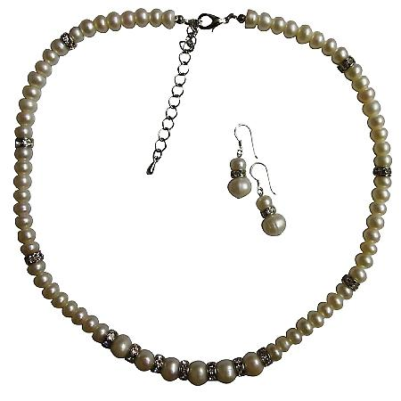 Freshwater Pearls Jewelry Silver Rondells Necklace Stunning Jewelry