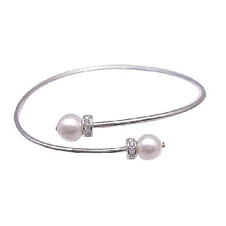 Cuff Silver Bracelet w/ Swarovski White Pearls Spacer Silver Rondells