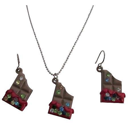 Chocolate Candy Pendant & Earring Rhinestone Unique Christmas Gift