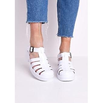 Cleated Block Heeled Cage Jelly Sandals White