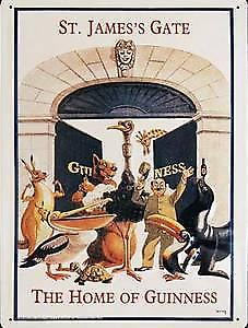 Guinness St James Gate (Animals) Large Metal Sign  (hi3040)