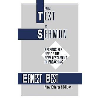 Vom Text zur Predigt von besten & Ernest E.