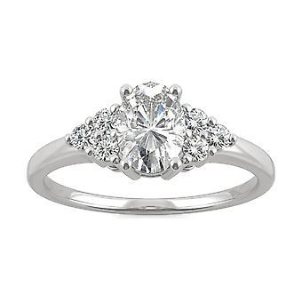 14K białe złoto Moissanite przez Charles idealna Colvard 7x5mm owalne pierścionek zaręczynowy, 1.08cttw rosy