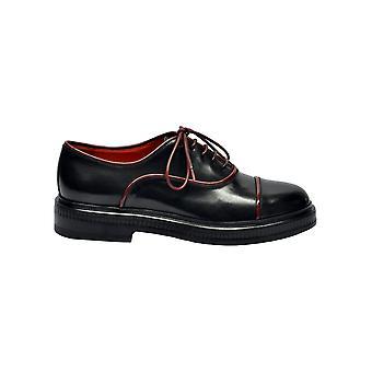 Santoni Black Leather Lace-up Shoes