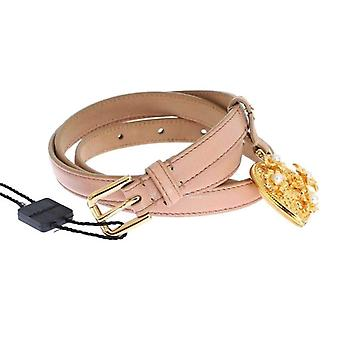 Dolce & Gabbana Pink Leather Gold Crystal Heart Pendant Belt -- SIG3757061