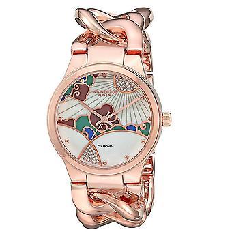 Akribos XXIV Women's Crystal Design Twist Chain Bracelet Watch AK931RG