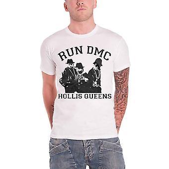 Run DMC T Shirt White Hollis Queens Pose band logo Official Mens