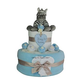 Blue Baby Boy Zebra Nappy Cake Gift (two tier)