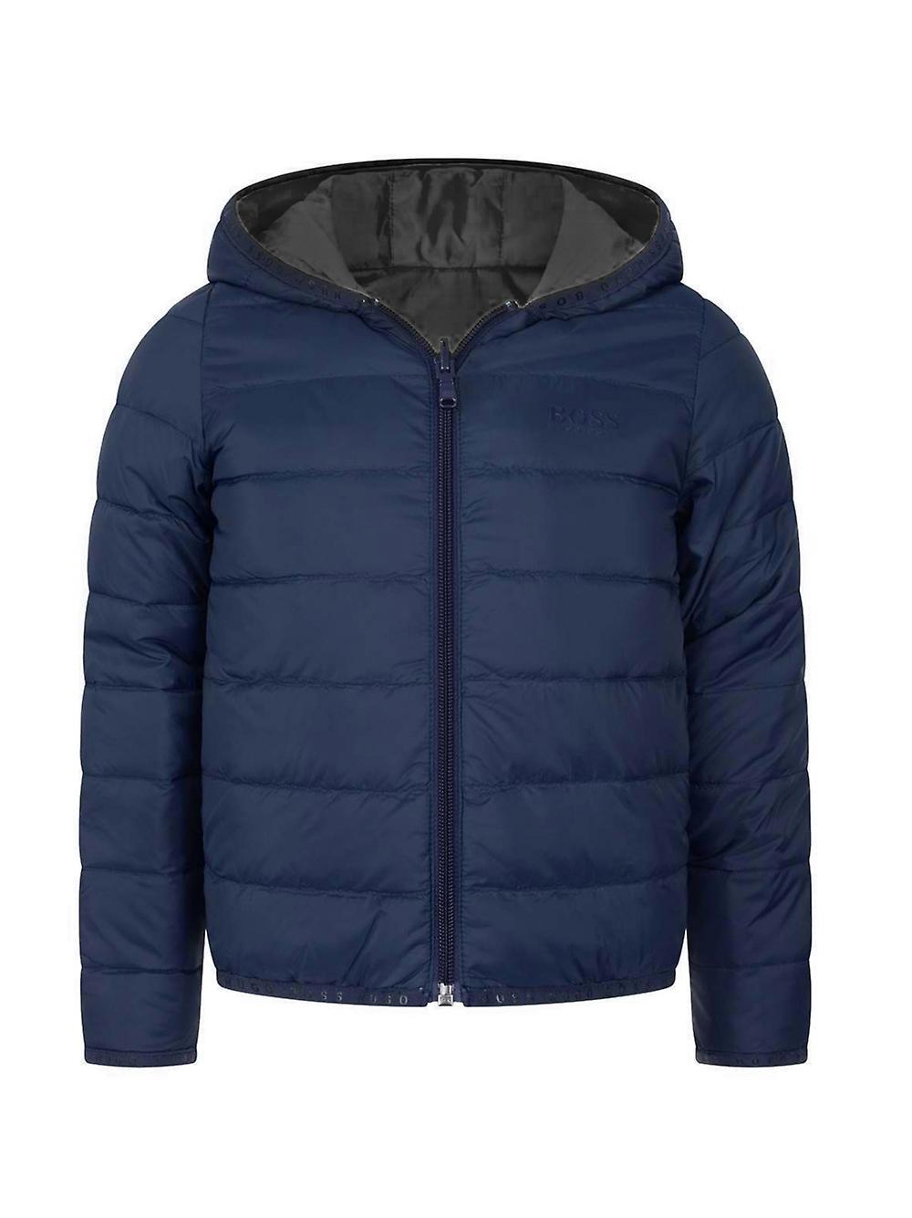 BOSS Kidswear Navy & Grey Down Filled Reversible Jacket