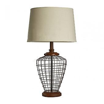 Premier Home Maine bordslampa, linneblandning, trä, Natural