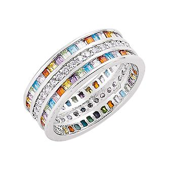 Jewelco London Rhodium Plated Silver Multi Colour Princess Cut and Round CZ 3 Row Channel Rainbow Eternity Ring